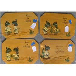 Four painted and lacquered plaques of Indian Children