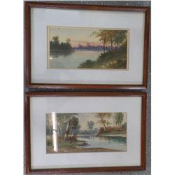 Pair of 19th Century Water Colors Original Watercolors signed F. Marlin