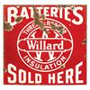 """Automotive sign, Willard Batteries, 2-sided porcelain, Good one side, other Poor to Fair cond, 18""""Sq"""