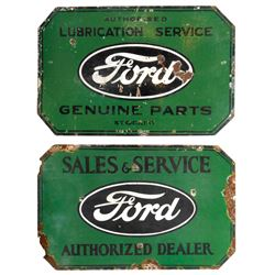 Automotive signs (2), Ford Lubrication Service-Genuine Parts & Ford Sales & Service, both 2-sided di