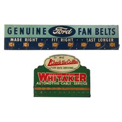 Automotive display racks, Ford Fan Belts & Whitaker Automotive Cable, both metal, Ford rack is Exc,