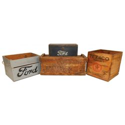 Petroliana & automotive wood boxes (4), Texaco, Ford, Eveready Batteries & Ford tool box (no handle)
