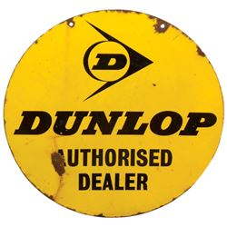 "Automotive sign, Dunlop (Tires), 2-sided porcelain, Good cond both sides w/losses, 18""Dia."