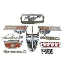 Automotive emblems (12), all Ford, chrome plated, for Fairlane, Mustang, etc., all VG/Exc cond.