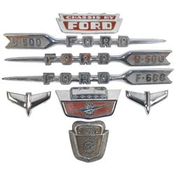 Automotive emblems (8), all Ford, includes B-500 & F-600 hood badges from 1950's pickups, etc., all