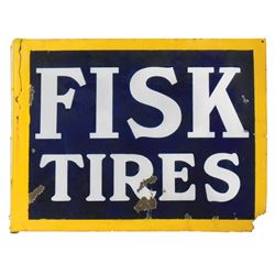 "Automotive sign, Fisk Tires, 2-sided porcelain flange, Fair cond w/losses & break along flange, 21""H"