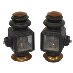 Automotive lamps (2), matched pair embossed Ford, Model 110, brass w/beveled glass lenses, mfgd by B