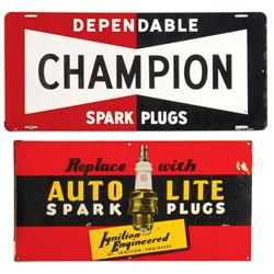 Automotive signs (2), Champion Spark Plugs & Auto-Lite Spark Plugs w/spark plug graphic, both metal,