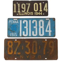 Automotive license plates (3), 1915 PA porcelain plate, 1928 NY metal plate & 1944 IL fiberboard pla