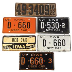 Automotive license plates (6), 1922, 1957 & 1962 IA New Car plates, 1959 & 1964 IA Used Car plates &