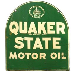 Petroliana sign, Quaker State Motor Oil, 2-sided metal, A-M Sign Co. 12-57, one side Good, other Fai