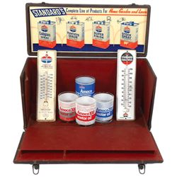 Petroliana salesman's sample case, Standard Oil-Home, Garden & Lawn sample display case w/fold down