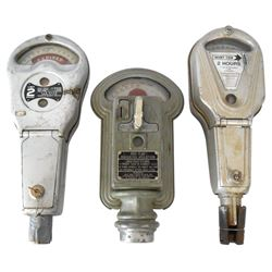 Automotive parking meters (3), older Miller Meter, 1 or 5 Cent, Dual 2 hr & Park-O-Meter 2 hr, all m