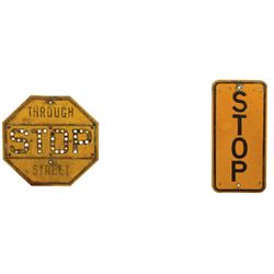 Automotive stop signs (3), porcelain triangle Car Stop, cast metal octagon Through Street Stop w/som