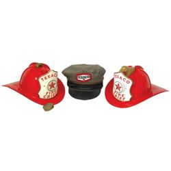 Texaco Fire Chief hats (2) & Texaco gas station attendant hat from The Leo-Meyers Co.-Columbus, O.,V