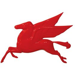 "Petroliana sign, Mobiloil Pegasus, cast metal w/red paint, a newer version in Exc cond, 34""H x 48""W."