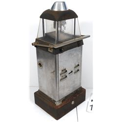 "Trolley fare box, mfgd by Johnson Fare Box Co.-Chicago & NY, cast metal, VG cond, 27""H x 11""W x 9""D."
