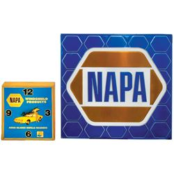 Automotive supplies clock & sign, NAPA plastic clock w/auto graphic, VG working cond, embossed metal
