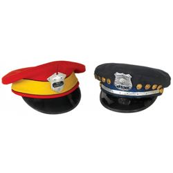 Automotive taxi cab hats (2), one w/Ruben Rivera Cab Driver #34631 badge & 9 Safe Driving Award pins