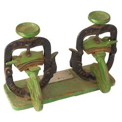 Automotive tool, Baker Shoe Press Co.-Springfield, IL, cast iron on wood base, orig green & black pa