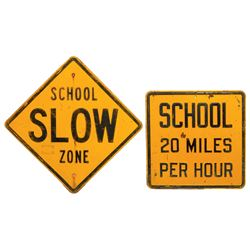 Automotive traffic signs, School Slow Zone & School 20 Miles Per Hour, both stamped steel in VG cond