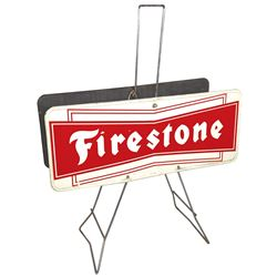 "Automotive tire display, Firestone, 2-sided metal, VG cond, 32""H x 25""W."