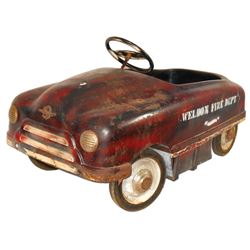 "Carnival kiddie ride car, ""Weldon Fire Dept."" stenciled on side, pressed steel, Sherwood-Walden-NY,"