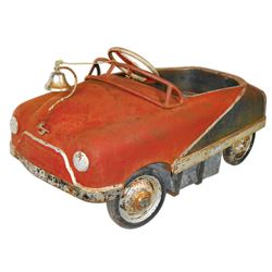 Carnival kiddie ride car, pressed steel, Sherwood-Walden-NY, c.1940's-1950's, has windshield & bell,