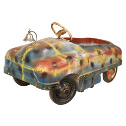 Carnival kiddie ride car, pressed steel, Sherwood-Walden-NY, c.1940's-1950's, missing windshield but