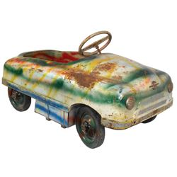 Carnival kiddie ride car, pressed steel, Sherwood-Walden-NY, c.1940's-1950's, missing windshield, Go