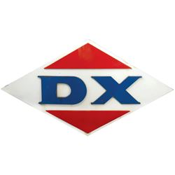 "Petroliana sign, DX, diecut metal w/raised letters & triangles, VG cond, 48""H x 84""W."