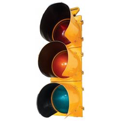 Automotive traffic light, Stop & Go, cast metal w/plastic lenses, marked Automatic Signal-Eagle Sign