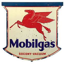 Petroliana sign, Mobilgas w/Pegasus, 2-sided diecut porcelain shield, VG cond w/numerous small losse