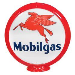 Petroliana, Mobilgas Gasoline globe, plastic body w/curved glass lenses, Pegasus graphic on both len