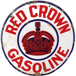 """Petroliana sign, Red Crown Gasoline, 3-color porcelain w/Crown center graphic, Good cond, 42""""Dia."""