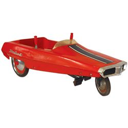 """Child's pedal car, AMF Probe 3, pressed steel, c.1969, VG+ cond w/lever steering, 17""""H x 44""""L."""
