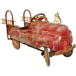 """Child's pedal car, Fire Truck, pressed steel, c.1950, replaced ladders, o/wise VG orig cond, 22""""H x"""