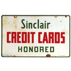 Petroliana sign, Sinclair Credit Cards Honored, 2-sided porcelain, marked 5-58, Good+ cond on both s
