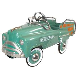 """Child's pedal car, pressed steel Estate Wagon, R on hubcaps, VG+/Exc cond, 21""""H x 43""""L."""