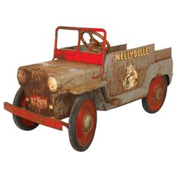 """Child's pedal car, Roy Rogers """"Nellybelle"""" jeep, pressed steel, mfgd by Hamilton Steel Products, Inc"""