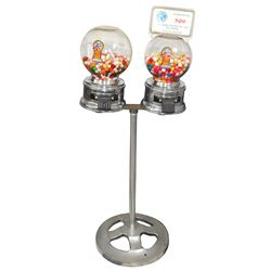 Coin-operated Ford gumball/peanut machines on stand, both w/glass globes, one w/marquee, Exc cond, 4