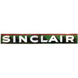 """Petroliana sign, Sinclair, 2-pc porcelain, Fair/Good cond, 21""""H x 162""""W."""
