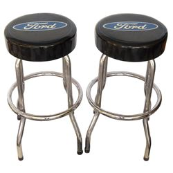 """Automotive stools (2), Ford, newer chrome stools w/Ford vinyl cushions, both in Exc cond, 28""""H x 14"""""""