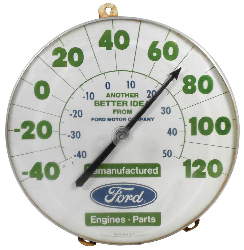 Automotive thermometer, Ford Remanufactured Engines & Parts, made by The  Ohio Thermometer Co , metal