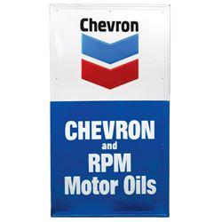 "Petroliana sign, Chevron & RPM Motor Oils, embossed metal, VG/Exc cond, 56""H x 32""W."