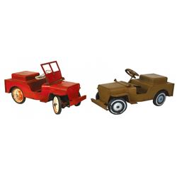 """Toy jeeps (2), pressed steel, one is missing windshield, o/wise both Good/VG cond & 14""""H x 26""""L."""