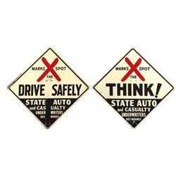 """Automotive signs (2), """"Drive Safely"""" & """"Think"""" State Auto & Casualty fatality markers, both 2-sided"""