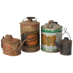 Petroliana oil dispensing cans & furnace lamp No. 2, cast iron, from Rochester Stamping Co.-Rocheste