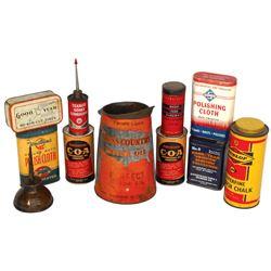 Petroliana tins (11), Sears Cross Country Motor Oil 2 qt metal pitcher, c.1930's-1940's, Good cond,
