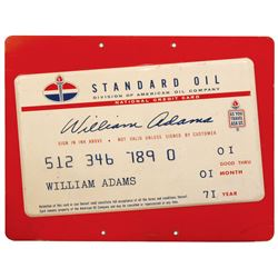 """Petroliana sign, Standard Oil National Credit Card, dated 1971, embossed metal, VG+/Exc cond, 24""""H x"""